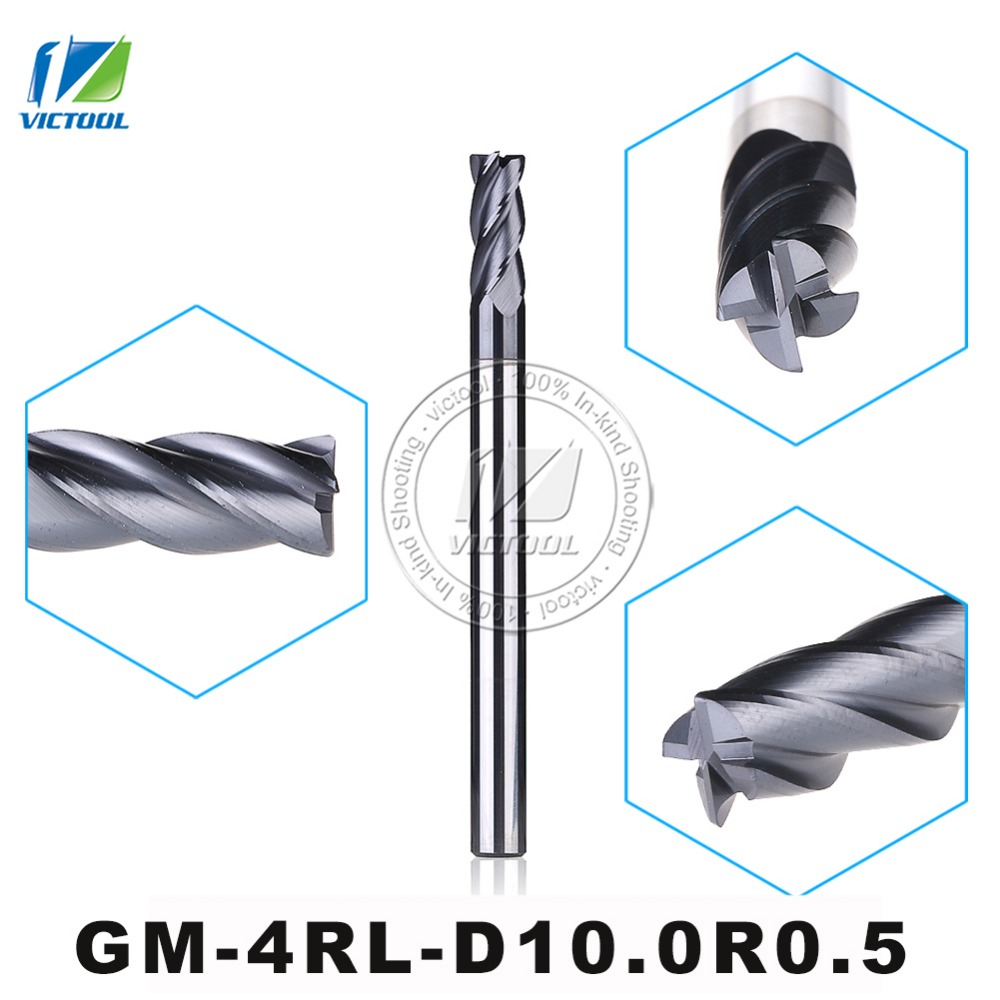 GM-4RL-D10.0R0.5 Cemented Carbide 4-Flute R End Mills Straight And long Shank Milling Cutter Metal Drill Bits Cutting Tools<br>