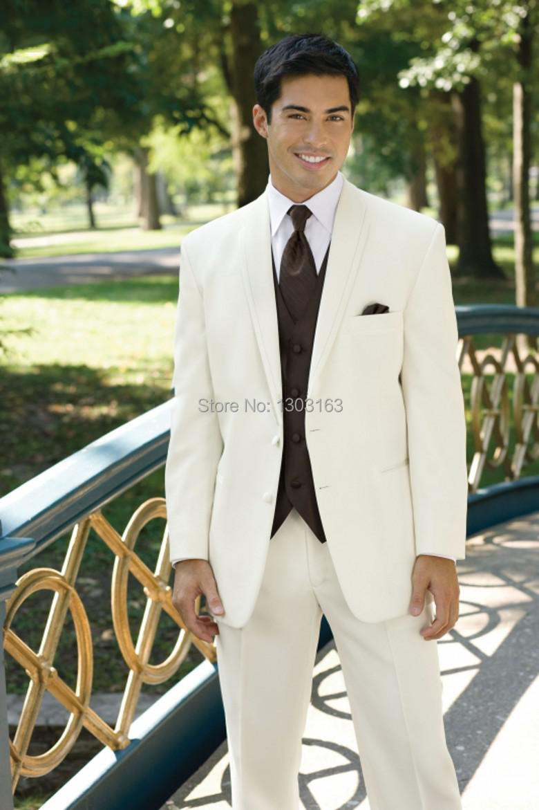 Vintage wedding groom vest - 2016 Fashion Men Suits Ivory Groom Tuxedos Groomsman Suit Wedding Mens Suits Jacket Pants