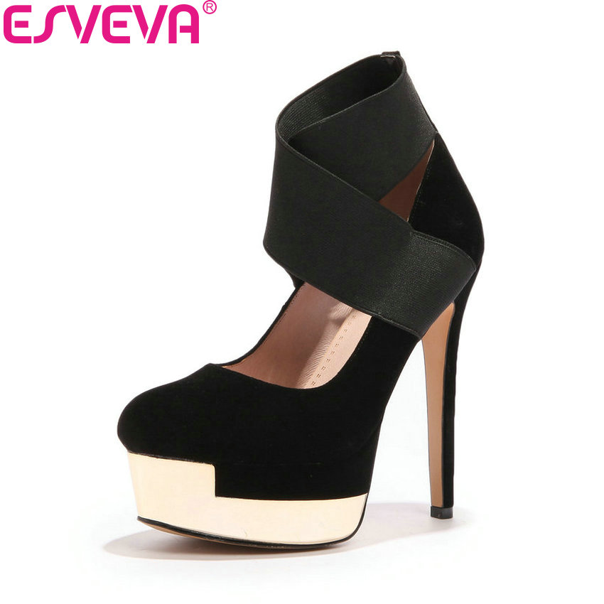 ESVEVA 2018 Women Pumps Zippers Western Style Shoes Elastic Band Round Toe Suede Thin High Heel Platform Women Shoes Size 34-39<br>
