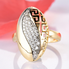 GULICX Sparkling Big Rings For Women Oval ring with Round Tiny AAA Cubic Zirconia Stone Accessories Jewelry Gold-color Cocktail(China)