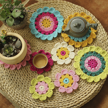20pcs/lot Photography Props Coaster Crochet Flowers Clothes Patch Accessory  Handmade Crochet Doilies Table Mats Pad  9-14cm