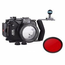 40m 130ft Waterproof Underwater Camera Housing Case Bag for Sony A5100 ( 16-50mm Lens ) + Aluminium Diving handle + Red Filter(China (Mainland))