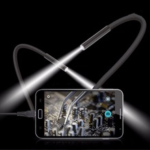 1pcs Hot 2M 7mm USB Endoscope Waterproof Borescope Snake Inspection Tube Video Camera with 6 LED