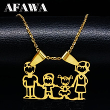 Hot Sale Family Necklaces Boy Kids Women Gold Color Chain Stainless Steel Necklace Jewellery Valentines Day Gift joyas N2106