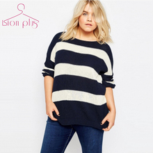 Striped Pullover Sweater Women Plus Size 6XL 5XL 2016 Autumn Black White Hit Color Fashion Streetwear Sweaters European Clothing