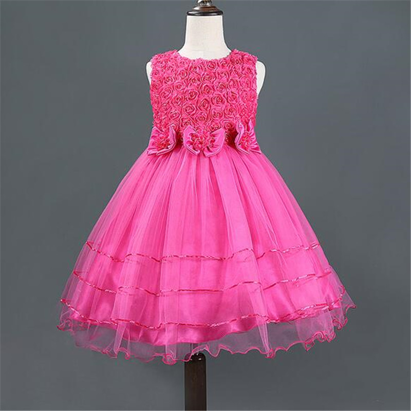 2016 Hot selling Baby Girls Sleeveless Rose and bowknot Princess Dress   Kids Summer Tutu Dress 5 colors<br><br>Aliexpress