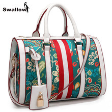 SWALLOW Bohemian Floral Bags Handbags Women Famous Brand Large Capacity Designer Shoulder Crossbody Bag Luxury With Lock Deco(China)
