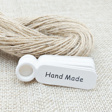 5*1.3cm 100PCS handmade Tags+100PCS Hemp Strings DIY Paper gift/jewelry Tag Paper for Jewelry/cake/garment/Gift box/cookies
