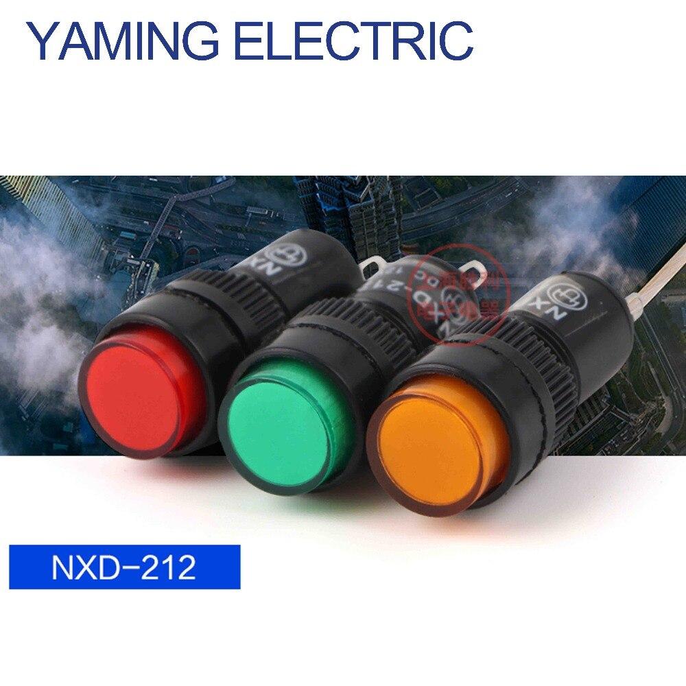 10pcs 220V 10mm Mount Green Signal Lamp 2 Pins Indicator Light NXD-211