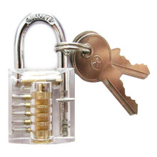 NED Cutaway Inside View Of Practice Transparent Padlock Lock Training Skill Pick View Padlock For Locksmith With Smart Keys(China)
