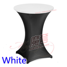 white colour spandex high bar table top cover lycra table top cover for wedding banquet and party cocktail table decoration