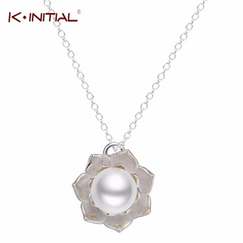 1Pcs 925 Silver Flower Necklace Imitation Big Pearl Choker Statement Necklaces Pendants Women Maxi Colar Jewelry Bijoux Collie