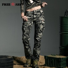 Band Military Style Camouflage Women's Pants High Quality Mid Waist Cargo Camouflage Army Green Leisure Trousers Capris GK-9370B(China)