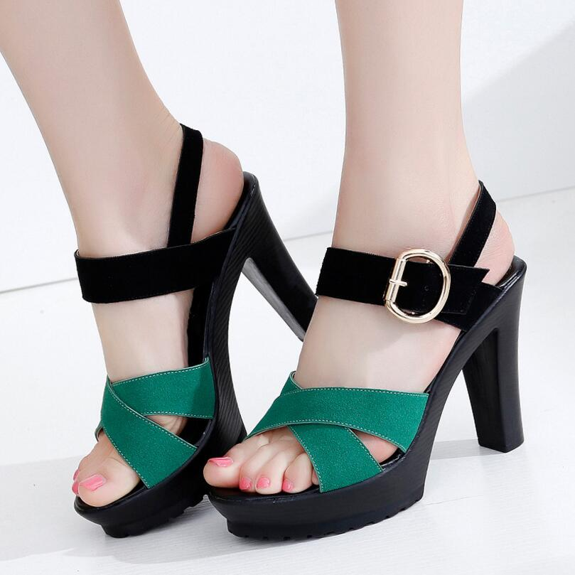 D&amp;Henlu Large Size Shoes Women Shoes Summer Platform Open Toes High Heels Sandals Women Thin Heel Buckle Strap sandalia femina<br>