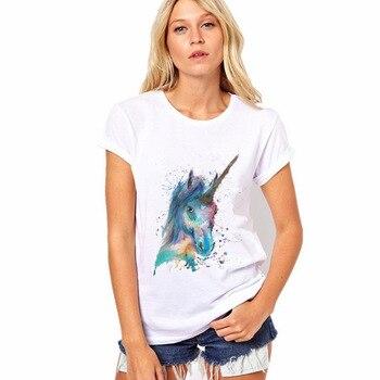 2017 Hot Sale New Fashion Unicorn Print Funny Tshirt Women Casual Shirt For Lady Fashion Harajuku Brand Free Shipping