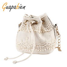 Guapabien Women's Chain Shoulder Bags Lace Bucket Bag Draw String Small Strap Messenger Tote Bag Crossbody Bag bolsos feminina