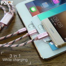 PZOZ usb cable 3 in 1 charging Charger for iPhone 7 6 6s 5 5s se 4 Type C Micro Android Mobile Phone Cable car 2 in 1 Universal(China)