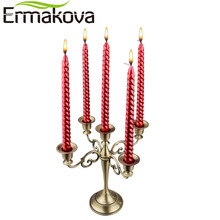 ERMAKOVA 5-Candle Metal Candelabra Retro Candlestick Candle Holder 5 Stands Candlelight Dinner Wedding Gift Home Wedding Decor(China)