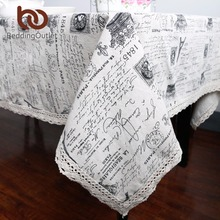 BeddingOutlet Crown Pattern with Words Tablecloth European Table Cover Multi Functional Cotton Line Lace Dining Table Cloth Hot