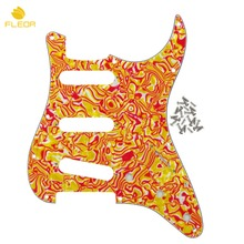 FLEOR 4Ply 11 Holes Electric Guitar Pickguard Pick Guard SSS & Screws for FD ST Style Guitar, Red/Yellow Shell(China)