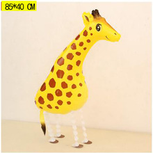 Walking Giraffe Mylar Balloon 33inch 3D Big Helium Walking animal ballon Zoo Jungle Party Decoration Event Party Supplies Globos(China)