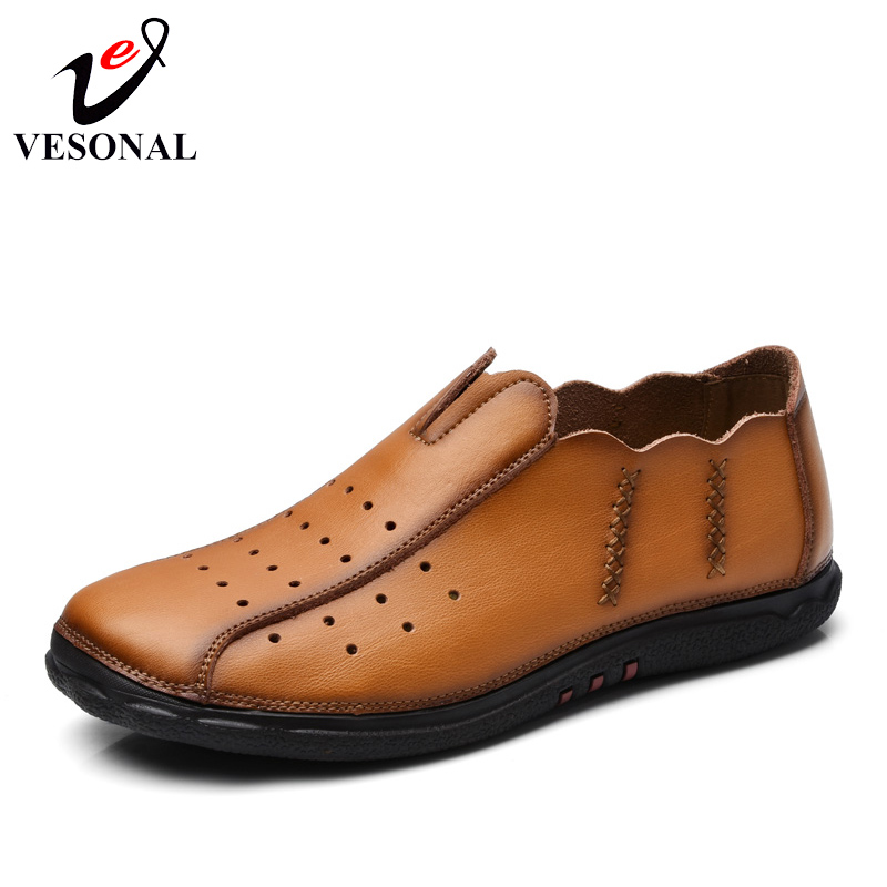 VESONAL Breathable Light Genuine Leather Male Loafers Shoes For Men Moccasins Driving Quality Casual Spring Style Footwear 2018<br>