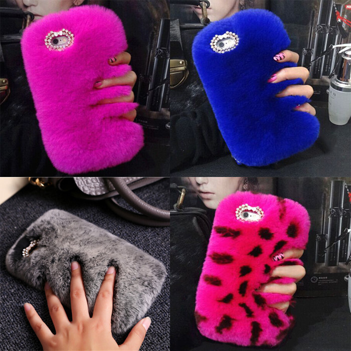 iPhone 7 8 Plus 6 6S Plus 5 5S SE Luxury Winter Warm Case Fluffy hair Fuzzy Plush Case Back Cover