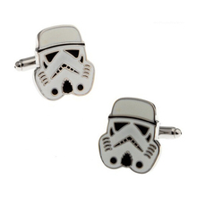 Fashion men's jewelry Boy Mens wedding shirts Star war cufflinks in white tone for party cuff links high quality Design(China)
