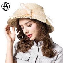 FS Summer Beige Black Straw Hats Women Organza Bowknot Wide Brim Sun Hat Ladies Pink Gray Beach Floppy Visor chapeu feminino(China)