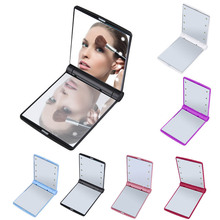 New Makeup Mirrors Mini Portable Folding Compact Hand Cosmetic Make Up Pocket Mirror With 8 LED Light for Lady H7JP1