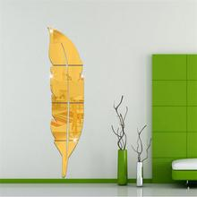 New 3D Acrylic Mirror Sticker DIY Feather Wall Stickers For Bathroom Toilette Poster Adesivo De Pared Stencils for Walls Decals