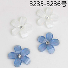 50pcs 20mm Mixed White/Blue Color Resin Flower Flat back Diy Necklace Choker Charms Handmade Jewelry Findings(China)