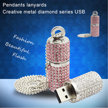 Diamond USB Flash Drive Key Chain Pendrive Metal Pen Drive Special Gift USB Stick 32GB 16GB Real Capacity USB Flash Free Shiping