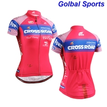 2017 Bike team women pink polyester Cycling jersey tops girls short sleeve bike clothing summer style(China)
