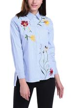 JOYINPARTY Women Embroidered Floral Striped Blouse OL Fashion Shirt High Quality Asymmetric Length Tops For 4 Season