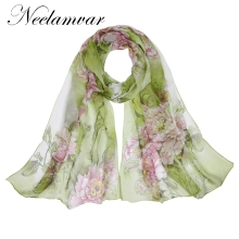 Neelamvar fashion Brand Designed 2017 scarf thin chiffon polyester silk scarf spring and autumn accessories women's shawls(China)