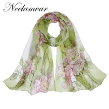 Neelamvar fashion Brand Designed 2018 scarf thin chiffon polyester silk scarf spring and autumn accessories women's shawls(China)