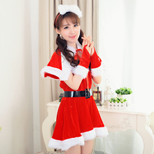 Miss Santa Fancy Dress Warm Velvet Red Christmas Costumes Santa Claus Halloween Costume X39(China)