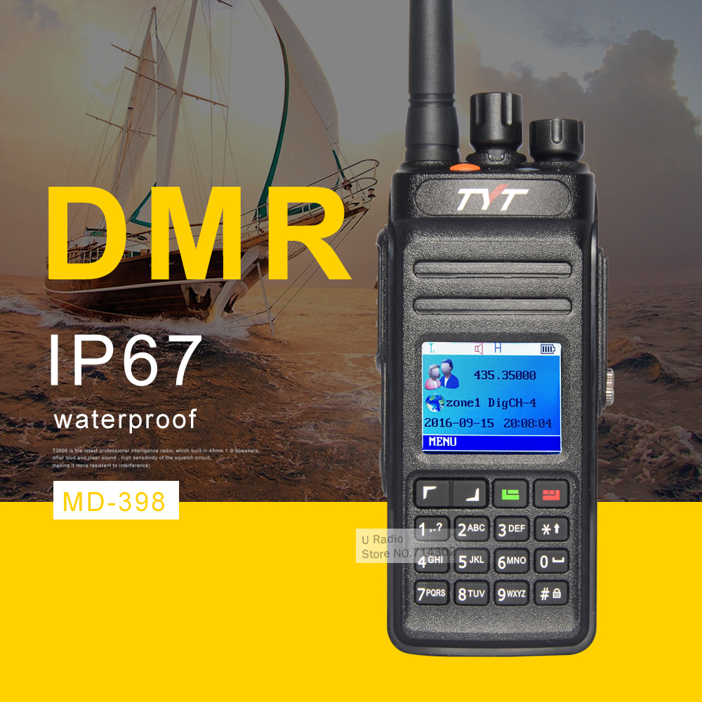TYT MD398 DMR Digital Walkie Talkie Waterproof IP67 Two Way Radio High Power 10W UHF400-470 Ham Radio Transceiver Portable Radio(China)