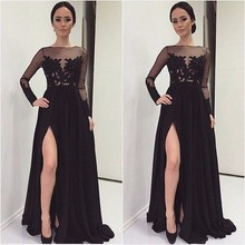 2017 A Line Long Sleeve Black Leg Slit Chiffon Long Prom Dress Robe De Soiree Custom Made Formal Party Evening Gown