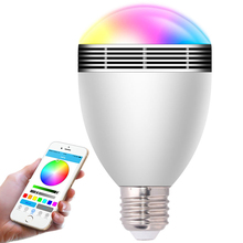 Smart LED Bulb Bluetooth Music LED Bulb Bluetooth Speaker E27/B22 Music Playing RGBW Light Lamp With 24 Keys IR Remote Control(China)