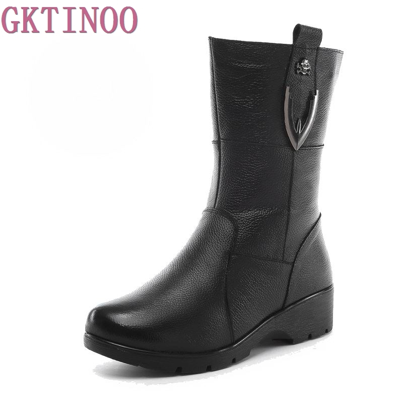 Autumn winter High quality Genuine leather women snow boots wedges medium-leg winter boot woman shoes<br>