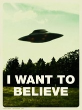 "I Want To Believe - X Files Art Movie Film UFO Fabric Poster 32"" x 24"" 17x13""--03(China)"
