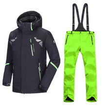 Fashion Russian Winter Ski Jacket Men Plus Size Ski Suit Men Snowboard Pants Mountain Skiing Outdoor Sport Coat Snow Clothing(China)