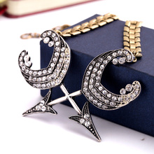 2015 New Arrival Punk Vintage Crystal Arrow Pendant Chain Necklace Fashion Statement Jewelry For Women Hot Sales