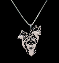 Gold & silver 1pcs Siberian Husky Family Necklace 3D Cut Out Puppy Dog Lover Pendant Memorial Necklaces Pendants Christmas