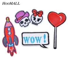 Hoomall Mixed 4PCs Patches For Clothes Hat Backpack Veat Iron On Applique Letter Stripes Embroidery Sewing Accessories(No Card)