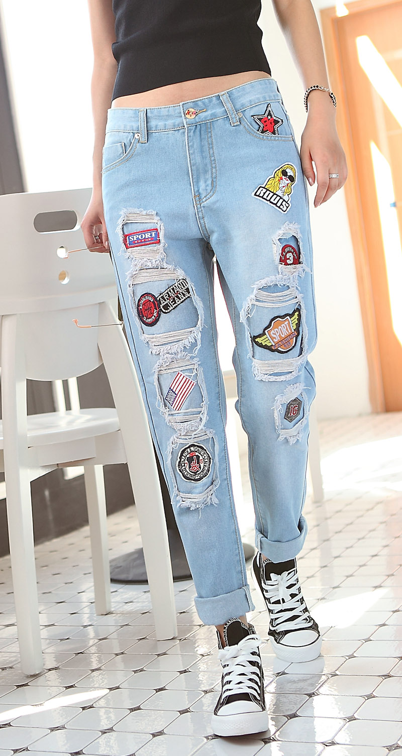 Free Shipping 2017 Spring New Fashion Cotton Jeans Women Slim Mid Waist Washed Vintage Hole Ripped Long Denim Jeans cross PantsОдежда и ак�е��уары<br><br><br>Aliexpress