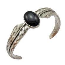 Vintage Silver Wing Feather Obsidian Zuni Navajo Style Big Bracelet Bangle Open Cuff Jewelry