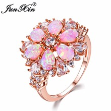 JUNXIN Fashion Women Pink Fire Opal Rings Rose Gold Filled Jewelry Vintage Wedding Rings For Women Birthstone Ring(China)